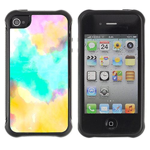 Teal Blue Tie Dye Color Art - Heavy Duty Armor Shockproof Silicone Cover Rugged case for Apple Iphone 4 / 4S