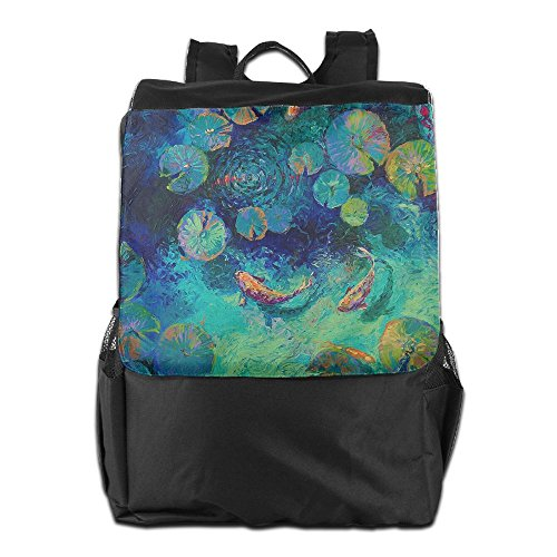 HSVCUY Outdoors Dayback School Fishes Oil Men For Personalized And Shoulder Backpack Camping Travel Painting Adjustable Strap Women Storage Or5xORqXw