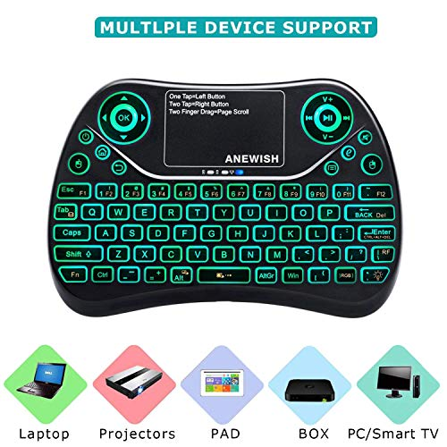 ANEWISH 2.4GHz Backlit Mini Wireless Keyboard, USB Rechargeable Touchpad Mouse Combo with Media Handheld Remote Control for PC, Android TV Box Project