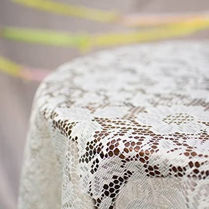 Gentil Lace Tablecloth, Round Table Cover, 60 In. Diameter, Scalloped, Ivory
