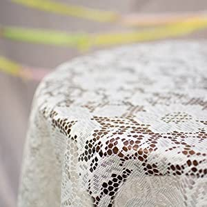 Lace Tablecloth, Round Table Cover, 60 In. Diameter, Scalloped, Ivory