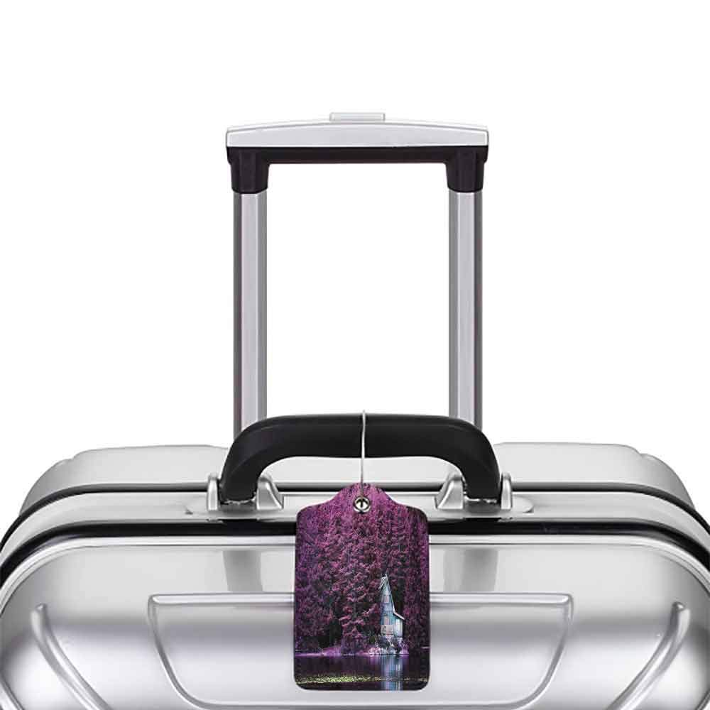 Multi-patterned luggage tag Lavender Purple Trees by the Lake with Blue Wooden Rustic Lakehouse Lodge Romantic Spring Nature Double-sided printing Purple W2.7 x L4.6