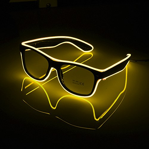 Neon LED Glasses EL Wire Shutter Shades for Bar Party Fluorescent Dance DJ Bright Glasses Fashion Light Glow Rave Costume Atmosphere Activing Props -