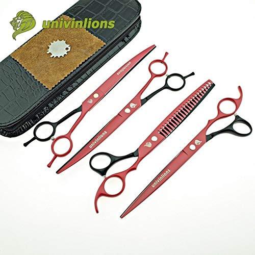 Shoppy Star  8  univinlions Japan Dog Grooming Scissors Animal Hair Scissors Curved pet Scissors Set cat Scissors kit Hand Clippers scisors  4 pcs Set