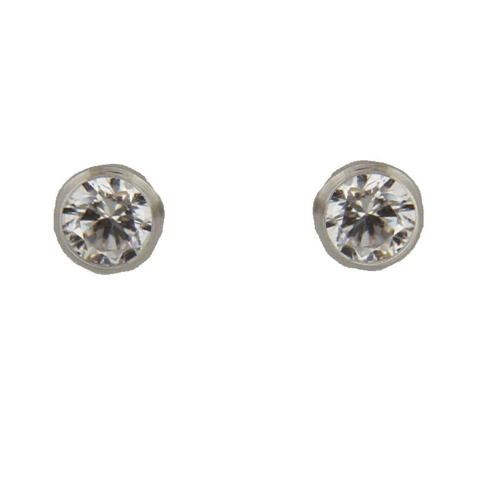4mm 18K White Gold Stud Cubic Zirconia Screwback Earrings