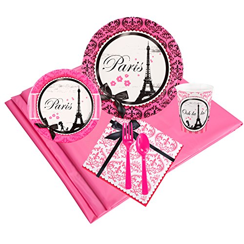 Paris Damask Childrens Birthday Party Supplies - Tableware Party Pack -