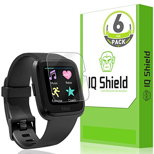 IQShield Fitbit Versa Screen Protector (6-Pack), LiQuidSkin Screen Protector for Fitbit Versa HD Clear Anti-Bubble Film from IQShield