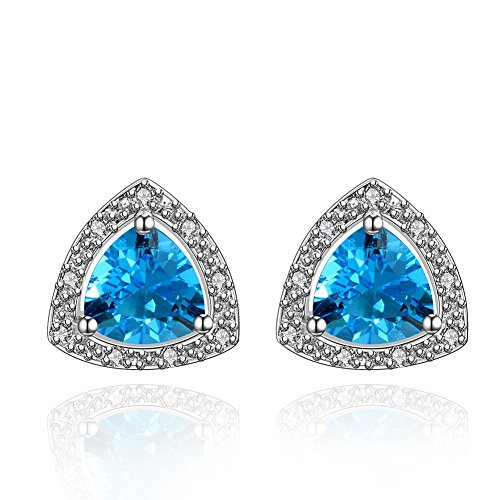 [Birthstone Sapphire Crystal Stud Earrings Triangle with Swarovski Elements Anniversary Gift for Love] (Costumes Brisbane Australia)