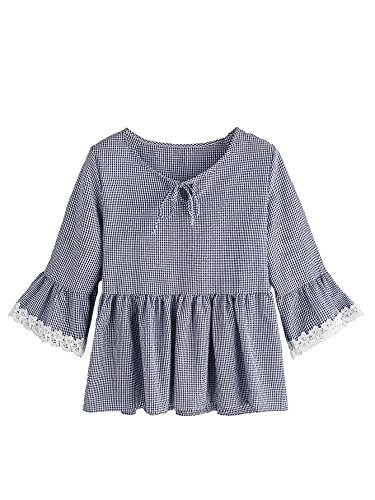 MakeMeChic Women's Ruffle hem Bell Sleeve Gingham Babydoll Top Blouse Navy XL (Front Shirt Plaid Ruffle)