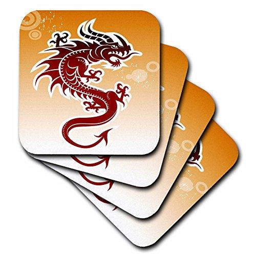 Asian Dragon Tile - 3dRose cst_62464_4 Asian Dark Red Dragon on Orangy Background Ceramic Tile Coasters, Set of 8