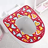 Lqchl Thickening Toilet Bowl, Waterproof And Pasting Zipper Type Toilet Pad,Gules