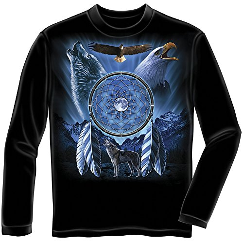 wolf-eagle-dream-catcher-youth-longsleeve-tee-shirt-kids-large