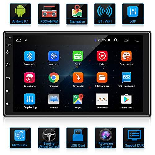 Ankeway 2020 Nuevo 2 Din Android 91 Dsprdsamfm Radio Del Coche Navegacion Gps 7 Pulgadas 1080p Hd Pantalla Tactil Wifi Internet Multimediabluetooth Manos Libresmicrofonocamara De Marcha Atras