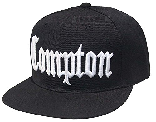 Compton Flat Bill Snapback Adjustable Baseball Cap Hat (Black)]()