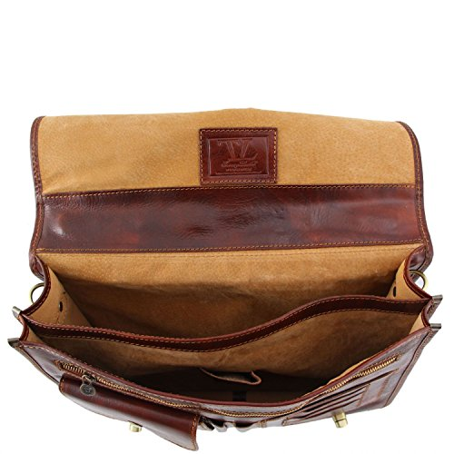 2 Brown Dark Dark Leather Brown compartments Leather Tuscany Siena messenger bag fRqFpX