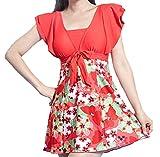 LoveUI Women One-Piece Swimsuit Soft Cup Swimwear Beach Suit Plus Size Swimwear Red3XL(US8-10)