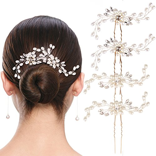 Bridal Hair Pins SuPoo 4 Pack Bride Crystal Rhinestone Hair Pins, Hair Jewelry Hair Accessories for Women Bridal Wedding, Silver by SuPoo