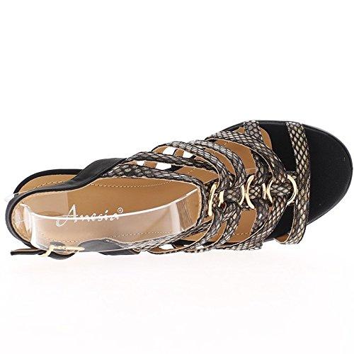 ChaussMoi Sandales Compensées Noires à Talon DE 12,5cm et Semelle Épaisse Noire
