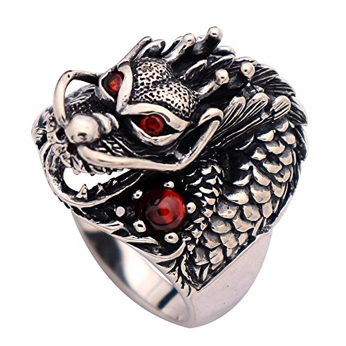 Vintage Black 925 Sterling Silver Dragon Head Ring Jewelry with Red Eyes for Men Women Size 7.5 ()