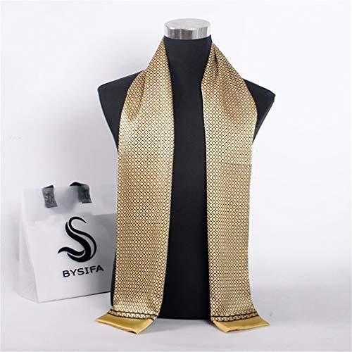 TTWVSS Men Silk Scarf Muffler Winter Accessory 100% Pure Silk Male Plaid Long Scarves Cravat Navy Blue 16026Cm Yellow