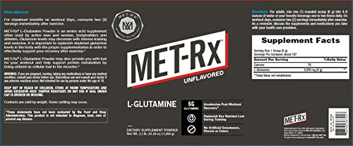 MET-Rx L-Glutamine Powder, 1000g, Post-Workout Amino Acid Nutritional Supplement, Add to Workout Recovery Protein Shakes Nutritional Shakes