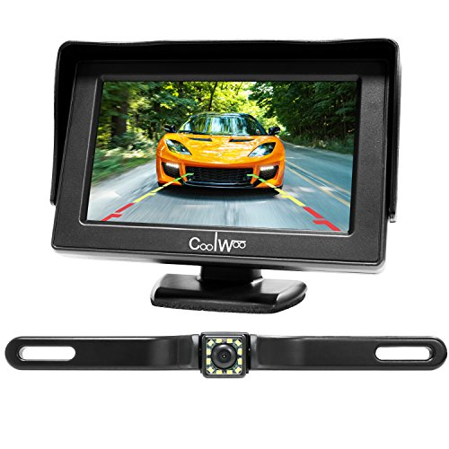 Backup Camera and Monitor Kit for Cars, High Definition 4.3-inch Rear View Display with IP67 Weatherproof 12 LED Night Vision License Plate Cam