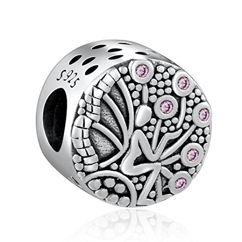 HQCROW 925 Sterling Silver Pink CZ Angel Vintage Charms Bead Fit European Snake Chain Bracelets