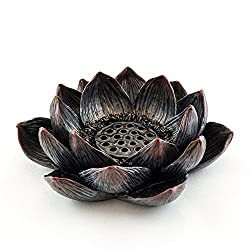 """Top Collection Small 4"""" Dia. Lotus Flower Decorative Incense Burner and Votive T-light Candle Holder. Resin with Hand-Painted Bronze Finish. Meditation Altar Buddha."""