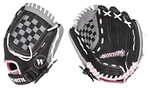 Storm Girls 10.5 Fastpitch T-Ball Glove STM105 BLACK/GREY GLOVE - PINK STORM RIGHT HAND THROW - 10.5 YOUTH