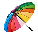 Variety To Go Rainbow Umbrella Large, 16 Ribs Rainbow Umbrella, Rainbow Umbrella for Girls,Men and Women (Straight Handle)
