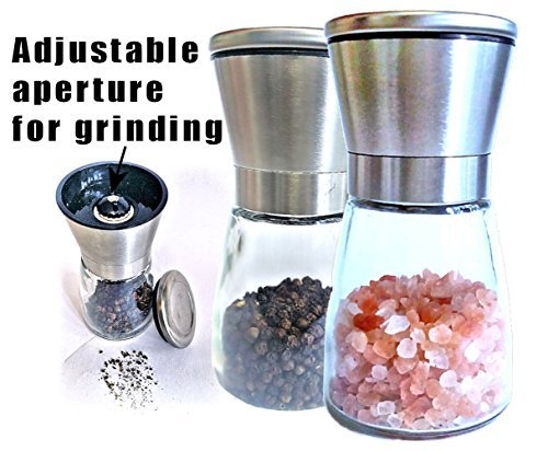 Brilliant & Mo Stainless Steel Salt and Pepper Grinder Set With Cone-shaped glass holder With Adjustable Grinding Aperture For Desired Coarseness (Shaped Cone Glass)