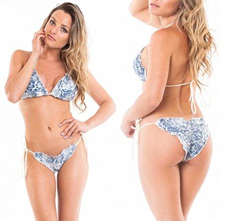COQUETA Brazilian Bikini Top Sequin Set Ruffles Scrunch Back Bottom BLUE-LARGE