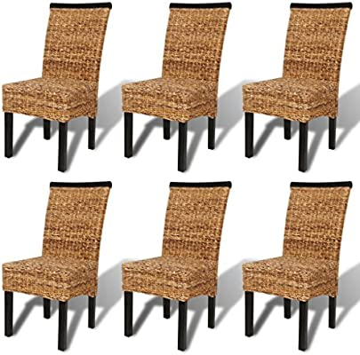 Set De 6 Chaises En Abaca Brun Tissees A La Main