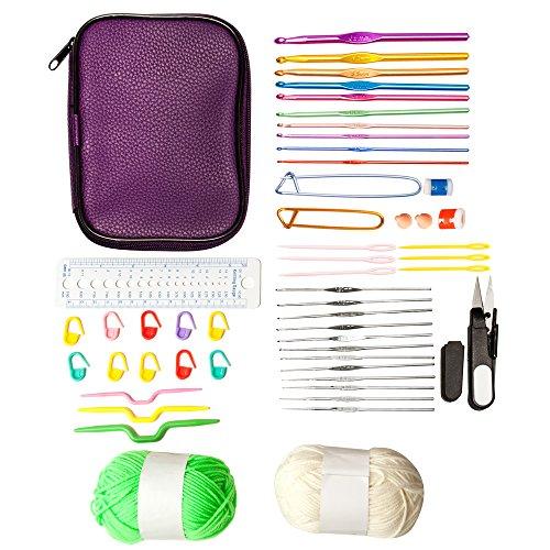 PureNoor Supplies 22pcs Aluminium Crochet Hooks Knitting Knit Needles Weave Yarn Set (Lace Stitch Markers)