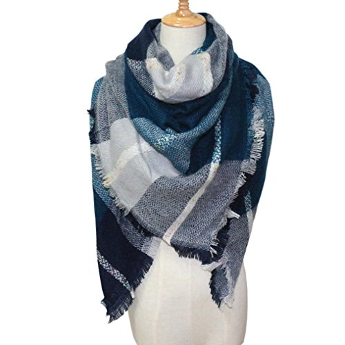 Plaid Blanket Scarf Oversized Square Scarves Cozy Winter Tartan Shawl Checked Wrap (Blue)