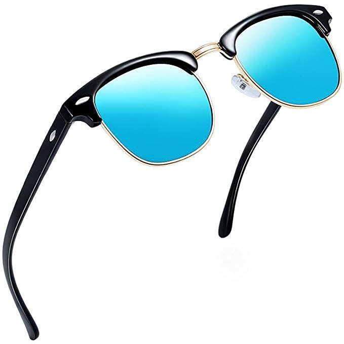 791840bd2d Aisprts Gafas de sol polarizadas retro medio marco clásico para Hombre y  Mujer (Azul)