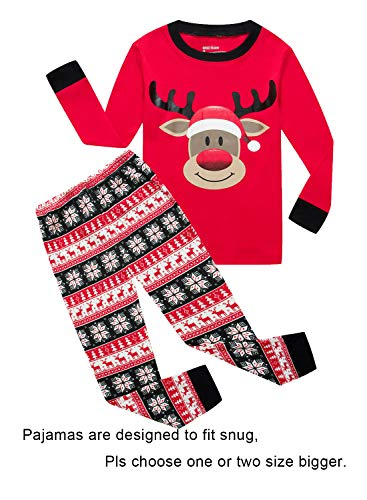 IF Pajamas Christmas Little Girls Boys Gift Pjs 100% Cotton Long Sleeve Kids Toddler Pajamas Sets Size Red 5