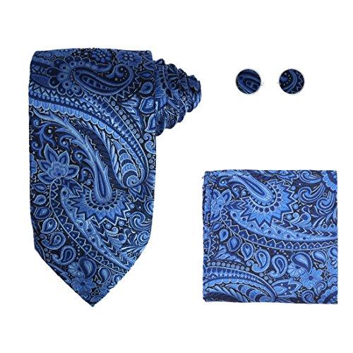 Y&G H6114 Blue Paisley Luxury Gift Idea Silk Ties Cufflinks Hanky Husband Gifts Set ()