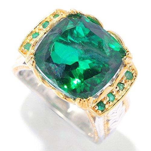 Michael Valituttii Palladium Silver Brazilian-Cut Quartz Doublet & Emerald Ekaterina Solitaire Ring