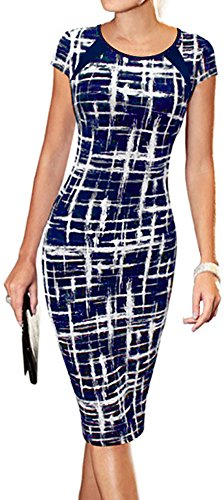 LunaJany Women's Striped Print Wear to Work Office Career Sheath Dress Medium Navy