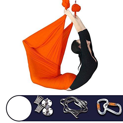 Alger Tissu micro-élastique d'hamac de hamac de gravité de hamac de yoga aérien avec des accessoires pour la maison, 500 * 280cm , orange