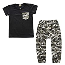 Baby Boys Short Sleeve Black T-shirt and Camo Pants Summer Outfit