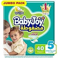Babyjoy Compressed Diamond pad Diaper, Jumbo Pack, Junior Size 5, Count 40, 14 - 25 KG
