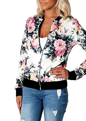 Coat Stampato Semplice Donna Bomber Zip Bianca Con Elegante Giubbino Invernale Glamorous Giacche Lunghe Sportiva style Maniche Floreale Vintage Giacca Corta Autunnale Etno qqR8BIw