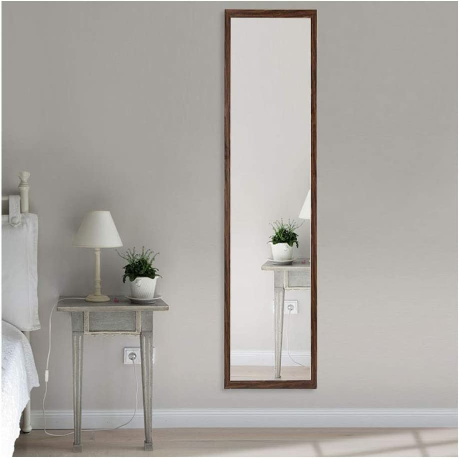 Beauty4U Full Length Wall Mirror Float Tile Dressing Mirror Body Mirror Door Mirror for Bedroom Dorm Wall Decor, Walnut Brown