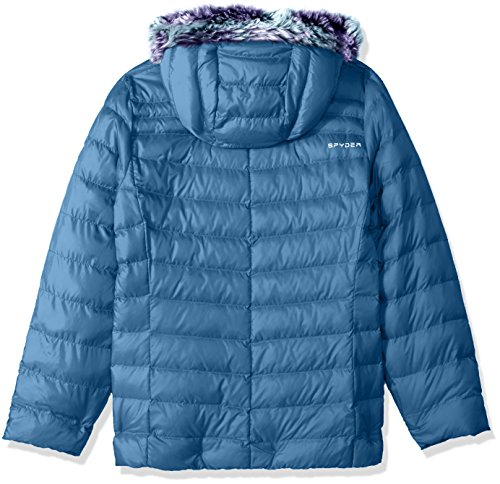 Fur Girl's Hoody Jacket Down Spyder Blue Faux Timeless French qx7wwvt