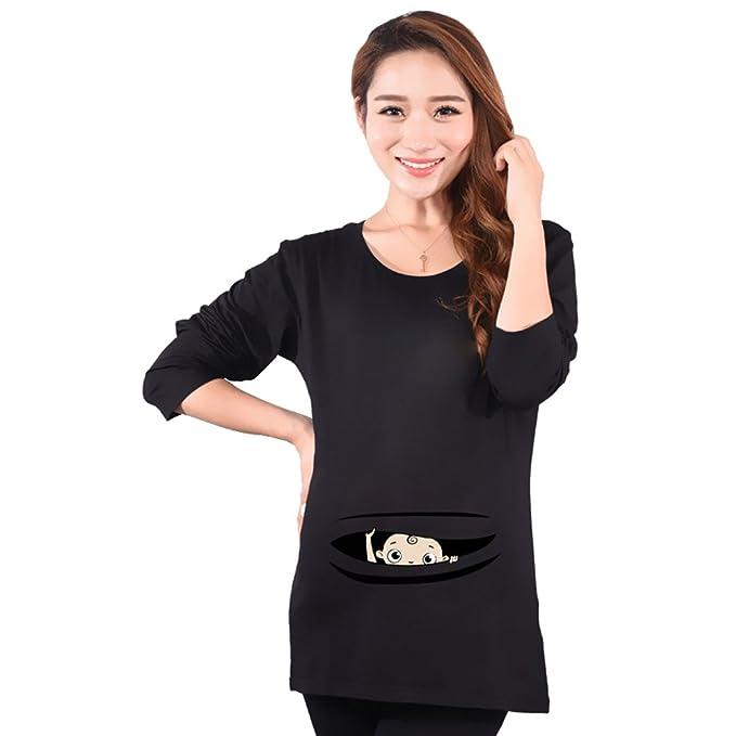 Juleya Camisetas de Manga Larga de algodón Ropa de Maternidad para Mujeres Embarazadas XL Negro