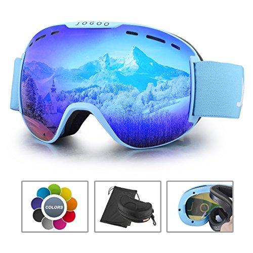 Jogoo Ski Goggles For Snowboard and Snowmobile,Interchangeable Lens and Magnetic Detachable Foam,UV400 Protection and Anti-fog Design OTG Snow Goggles for Men Women Youth & - Snow Glare