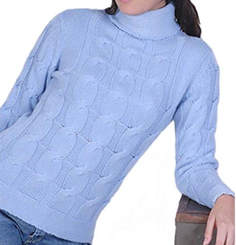 Balldiri 100% Cashmere Damen Pullover Rollkragen Zopfmuster 12 fädig himmelblau S