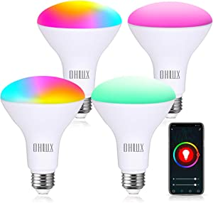 OHLUX Smart WiFi Flood Light Bulb E26 Base 900Lumen (100W Equivalent),10W BR30 LED Bulb Works with Alexa, Google Home, Siri, 2700K-6500K Dimmable, Indoor use (No hub Required) - 4Pack